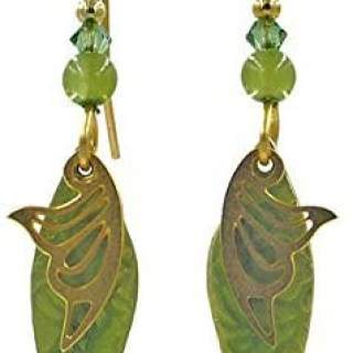 Green and Goldtone Shapes with Beads Dangle Earrings