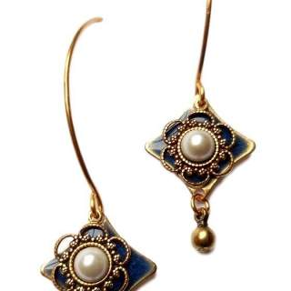 Silver Forest Faux Pearl with Blue & Goldtone Layers Dangle Earrings