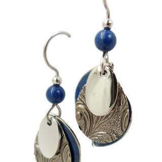 Silver Forest Blue and Silvertone Layers Dangle Earrings