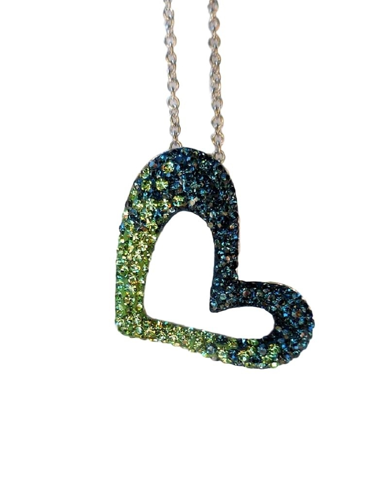 Chelsea Taylor Open Heart Necklace In Seattle Seahawks Colors Chelsea Taylor Jewelry Frannis Online Store